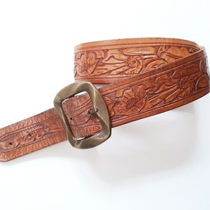 Vintage Leather Tooled Wide Belt With Brass Buckle